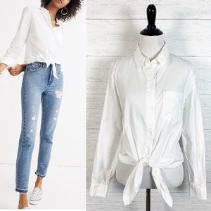 Madewell • White Tie Front Button Down Top S